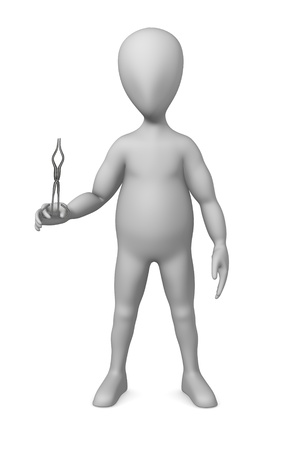 knive: 3d render of cartoon character with lab tongs