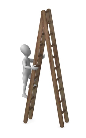 3d render of cartoon character with ladder photo