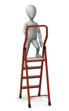stepping: 3d render of cartoon character with ladder