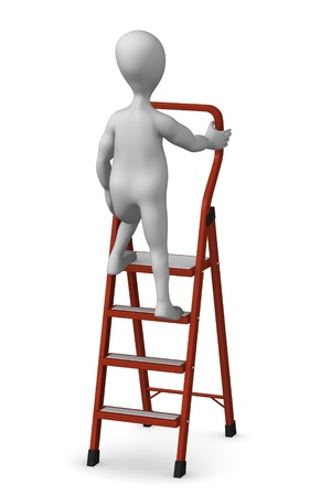 stockie: 3d render of cartoon character with ladder