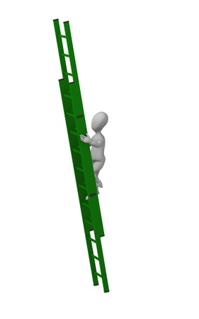 3d render of cartoon character with ladder Stock Photo - 12919611