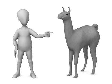 3d render of cartoon character with lama Stock fotó