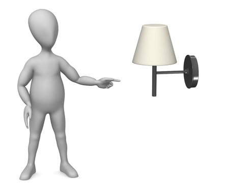 figourine: 3d render of cartoon character showing lamp Stock Photo