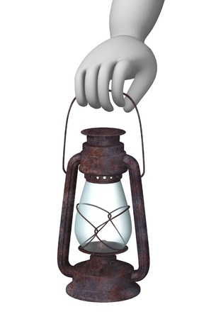 candleholder: 3d render of cartoon character with lantern