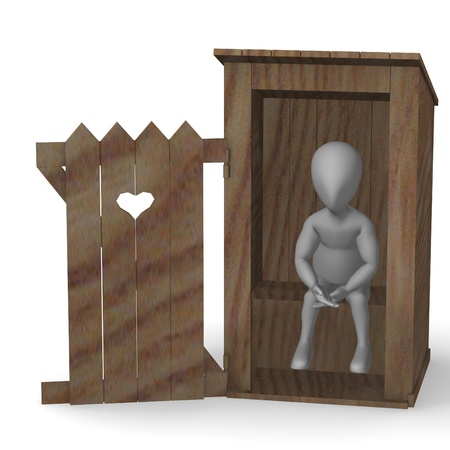 latrine: 3d render of cartoon character with latrine Stock Photo