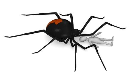 black widow: 3d render of cartoon character with black widow spider Stock Photo