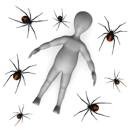 latrodectus: 3d render of cartoon character with black widow spider Stock Photo