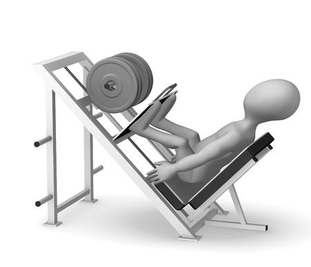 stockie: 3d render of cartoon character with leg press machine