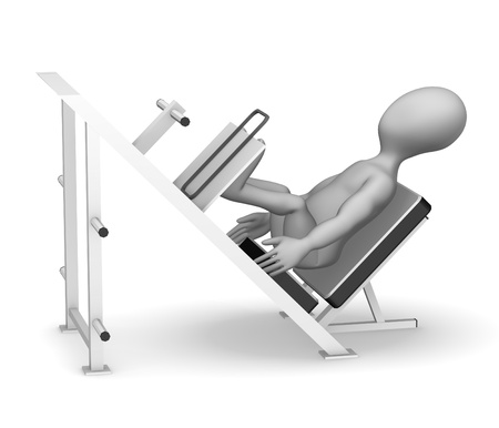 3d render of cartoon character with leg press machine  photo