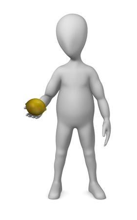 stockie: 3d render of cartoon character with lemon