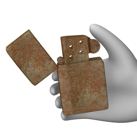 tabacco: 3d render of cartoon character with lighter