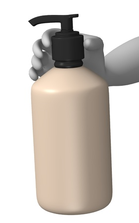 3d render of cartoon character with liquid soap photo
