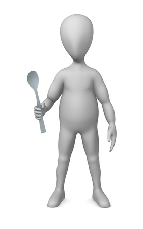 3d render of cartoon character with little spoon photo