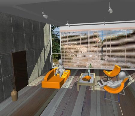 3d render of cartoon character in living room  photo