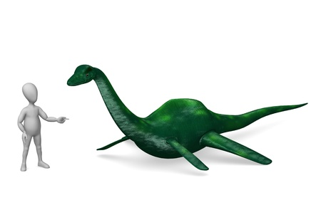 loch: 3d render of cartoon character with lochness monster