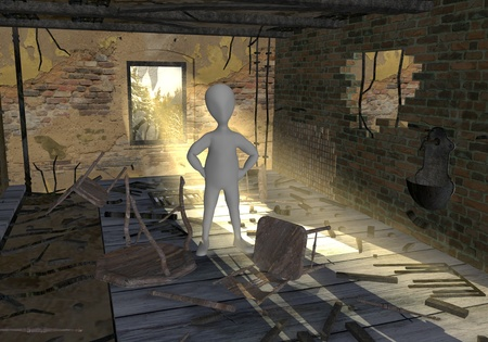 3d render of cartoon character with ruined room  photo