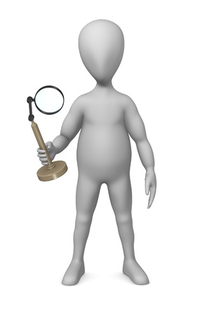 figourine: 3d render of cartoon character with loupe Stock Photo