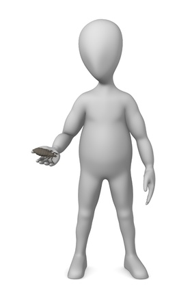 3d rendre of cartoon character with louse Stock Photo - 12920143