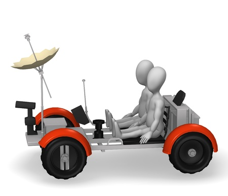 3d rendre of cartoon character with lunar rover  photo