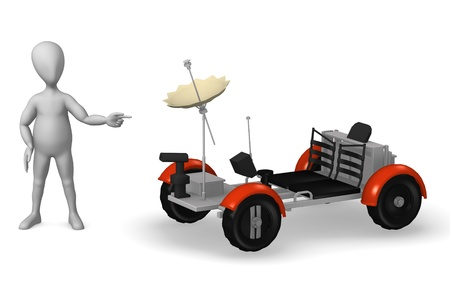 lunar rover: 3d rendre of cartoon character with lunar rover