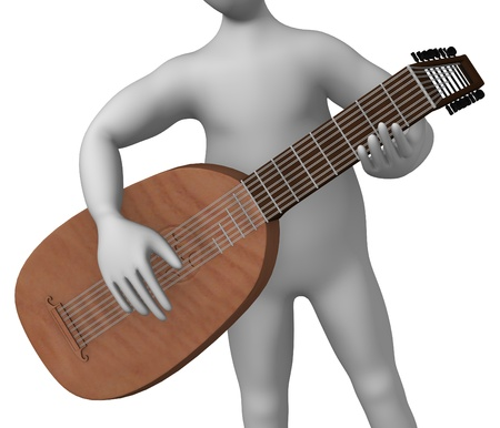 strains: 3d rendre of cartoon character with lute Stock Photo