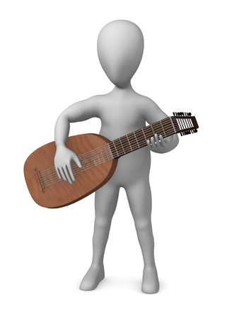 figourine: 3d rendre of cartoon character with lute Stock Photo