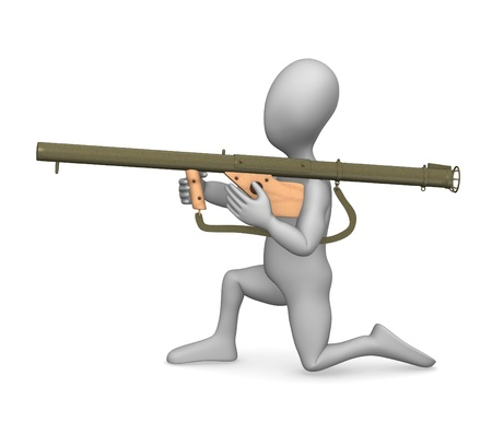 3d rendre of cartoon character with weapon  Stock Photo - 12956692
