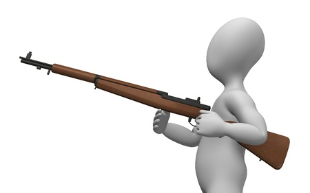 howitzer: 3d rendre of cartoon character with weapon  Stock Photo