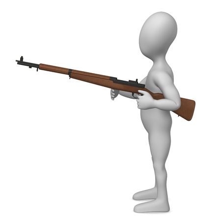 carbine: 3d rendre of cartoon character with weapon  Stock Photo