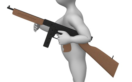 browning: 3d rendre of cartoon character with weapon  Stock Photo