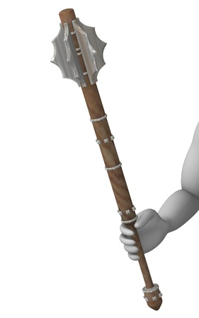 mace: 3d rendre of cartoon character with mace