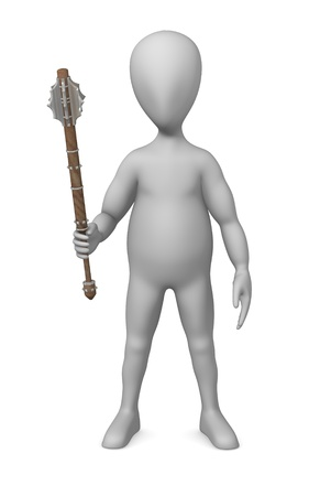 figourine: 3d rendre of cartoon character with mace