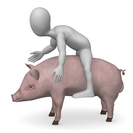 3d render of cartoon character with male pig  photo