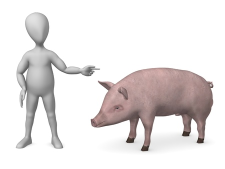 humamoid: 3d render of cartoon character with male pig  Stock Photo