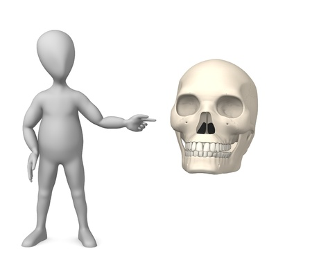 humamoid: 3d render of cartoon character with male skull