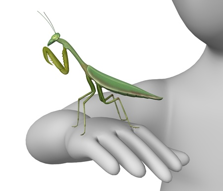humamoid: 3d render of cartoon character with prying mantis