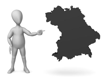 humamoid: 3d render of cartoon character with map of germany