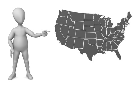 humamoid: 3d render of cartoon character with usa map Stock Photo