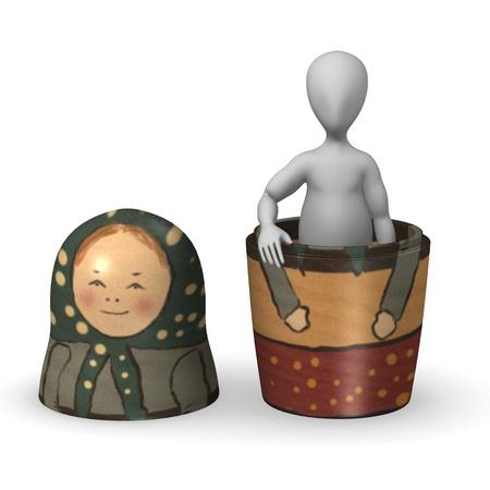 humamoid: 3d render of cartoon character with matrioshka