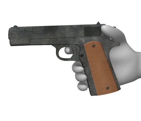 3d rendre of cartoon character with weapon  photo