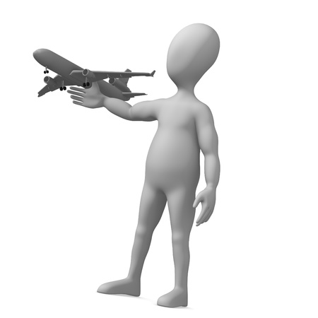 humamoid: 3d render of cartoon character with plane toy Stock Photo