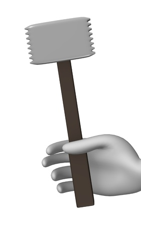 3d render of cartoon character with meat mallet Stock Photo - 12919931