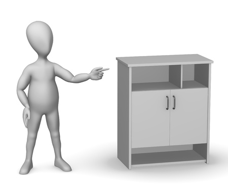 sideboard: 3d render of cartoon character with medical cupboard Stock Photo