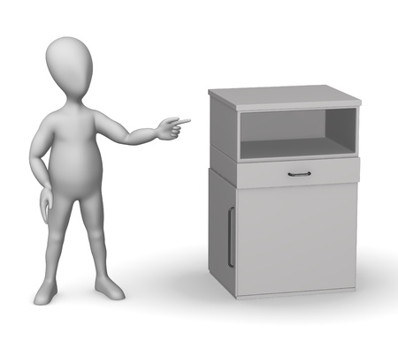 3d render of cartoon character with medical cupboard photo