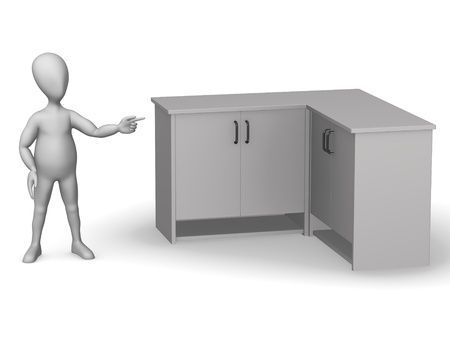 3d render of cartoon character with medical cupboard Stock Photo - 12957581