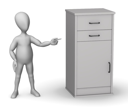 figourine: 3d render of cartoon character with medical cupboard Stock Photo