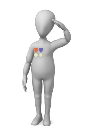 figourine: 3d render of cartoon character with medal