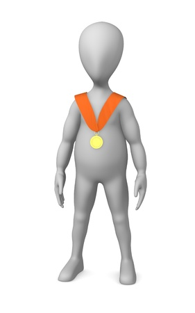 3d render of cartoon character with medal photo