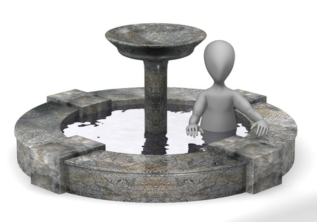 3d render of cartoon character with fountain photo