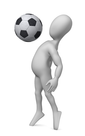 figourine: 3d render of cartoon character with soccer ball Stock Photo